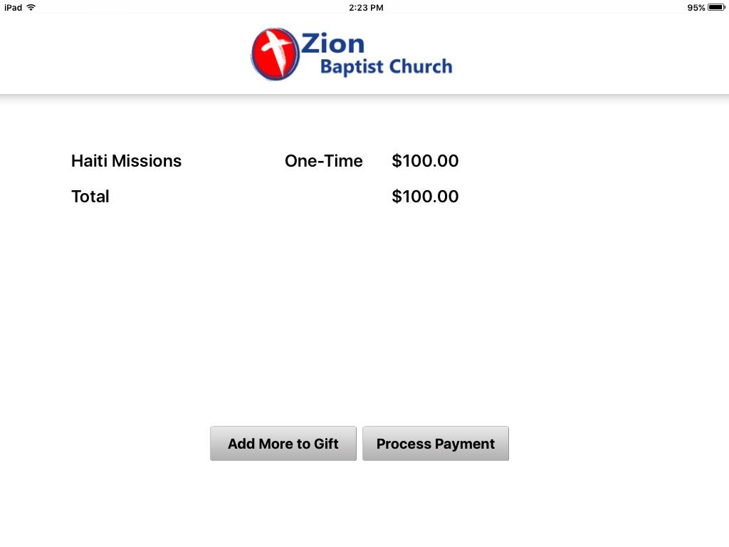How to Give Church Kiosk – Zion Baptist Church Shelby